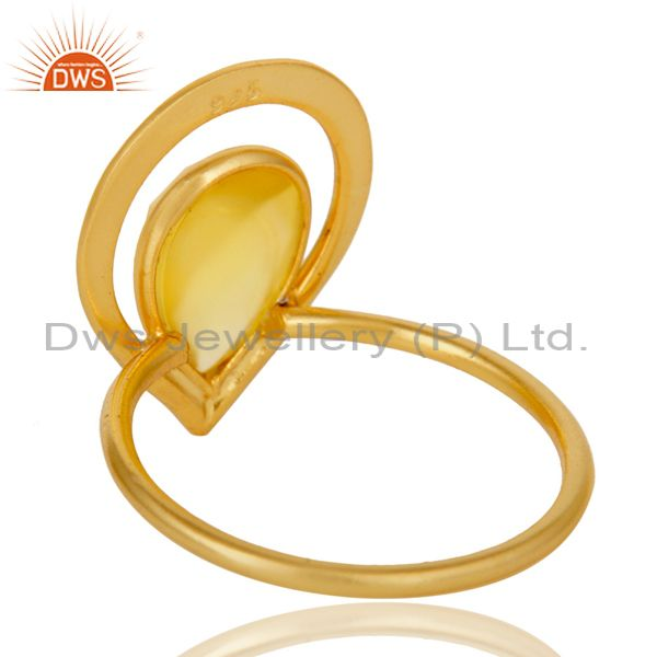 Suppliers 18K Gold Plated Yellow Chalcedony Sterling Silver Art Deco Style Designer Ring