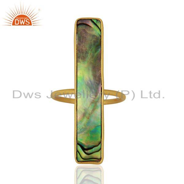 Suppliers Natural Abalone Shell Rectangle 92.5 Sterling Silver 14K Gold Plated Rings