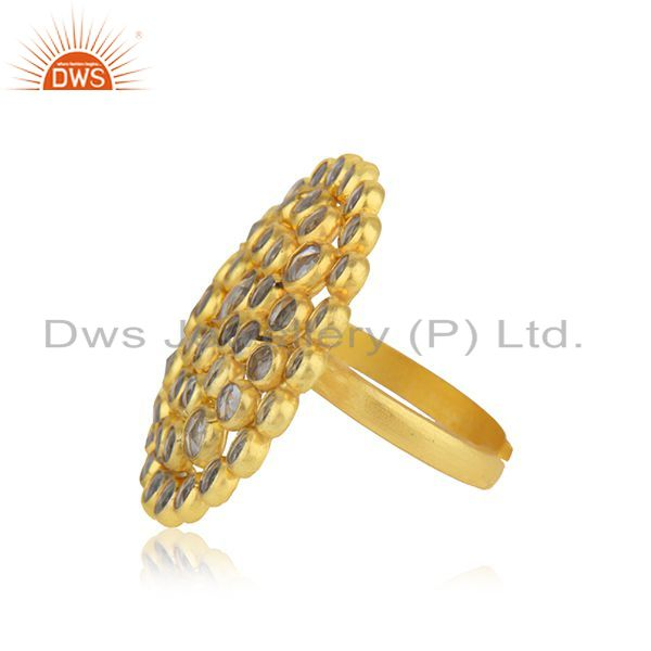 Suppliers Natural CZ Beaded Gemstone Floral Gold Plated Silver Ring Jewelry