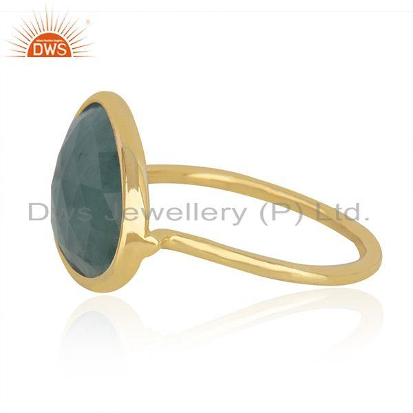 Suppliers Solid 14k Yellow Gold Emerald Gemstone Handmade Ring Manufacturer in India