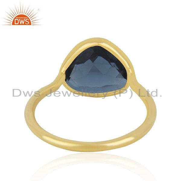 Suppliers London Blue Topaz Gold Plated 925 Silver Ring Manufacturer India