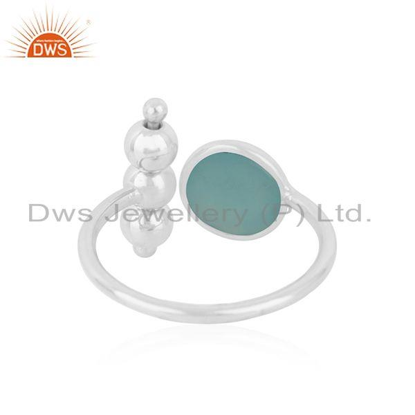 Suppliers Aqua Chalcedony Gemstone 925 Fine Silver Designer Ring Wholesaler India