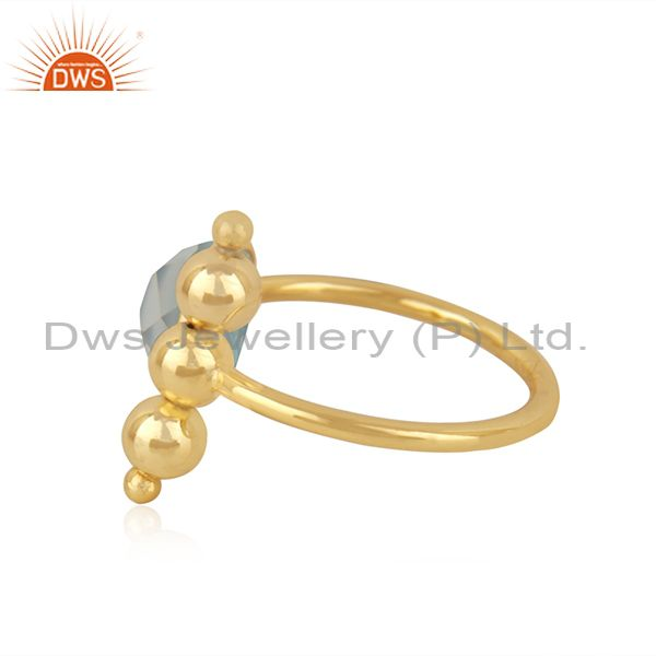 Suppliers Aqua Chalcedony Gemstone Gold Plated 925 Silver Designer Ring Wholesale