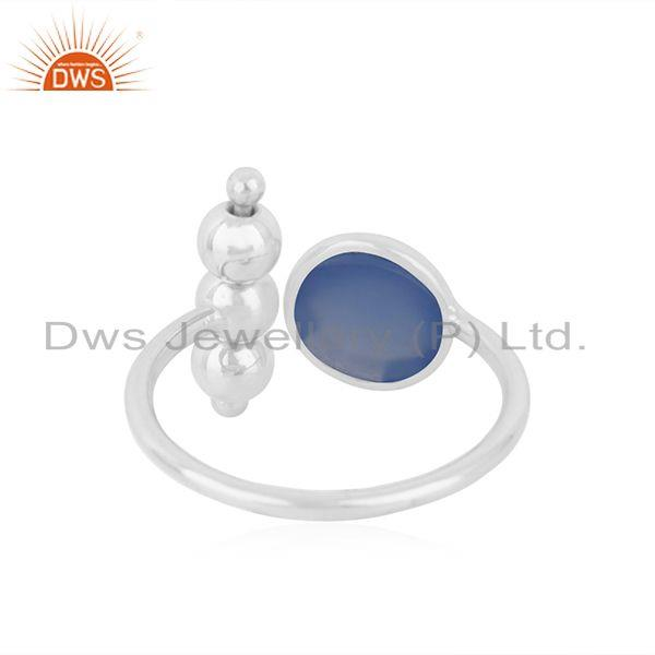 Suppliers Designer 925 Fine Silver Blue Chalcedony Gemstone Ring Manufacturer