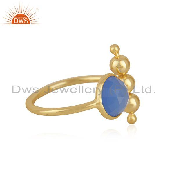 Suppliers Blue Chalcedony Gemstone 925 Silver Gold Plated Designer Ring Wholesale Supplier