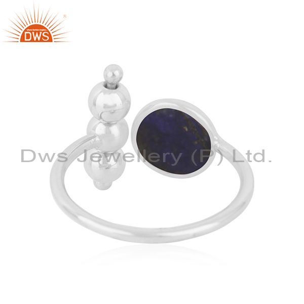 Suppliers Lapis Lauzuli Gemstone 925 Fine Silver Designer Ring Jewelry Wholesale Supplier