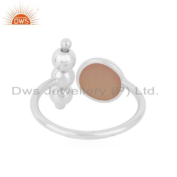Suppliers Rose Chalcedony Gemstone 925 Fine Silver Ring Manufacturer of Jewelry