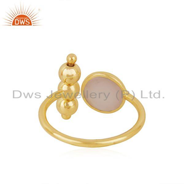 Suppliers Rose Chalcedony Gemstone 925 Silver Gold Plated Designer Ring Manufacturer INdia