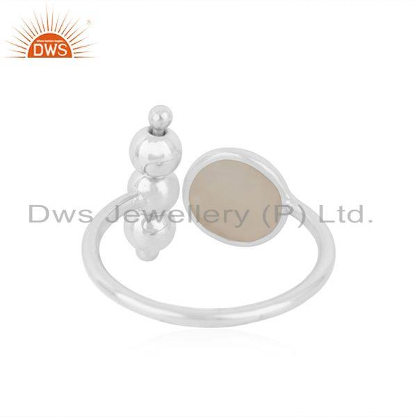 Suppliers Rainbow Moonstone 925 Sterling Fine Silver Designer Ring Manufacturer india