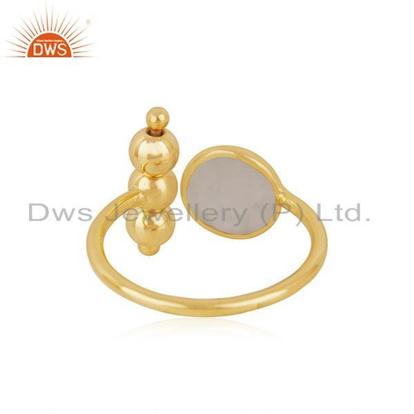 Suppliers Designer Gold Plated 925 Silver Rainbow Moonstone Promise Ring Manufacturer