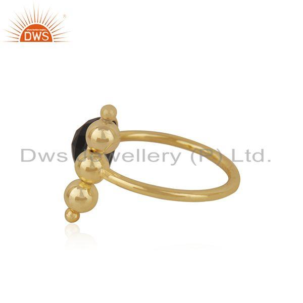 Suppliers Designer 925 Silver Gold Plated Black ONyx Gemstone Fashion Ring Manufacturer