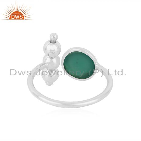 Suppliers 92.5 Fine Sterling Silver Green ONyx Gemstone Designer Promise Ring For Girls