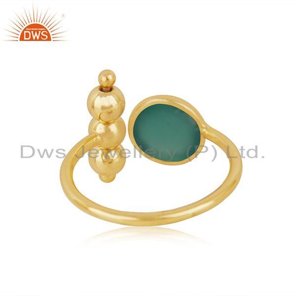 Suppliers Green Onyx GEmstone Sterling Silver Gold Plated Designer Ring Manufacturer India