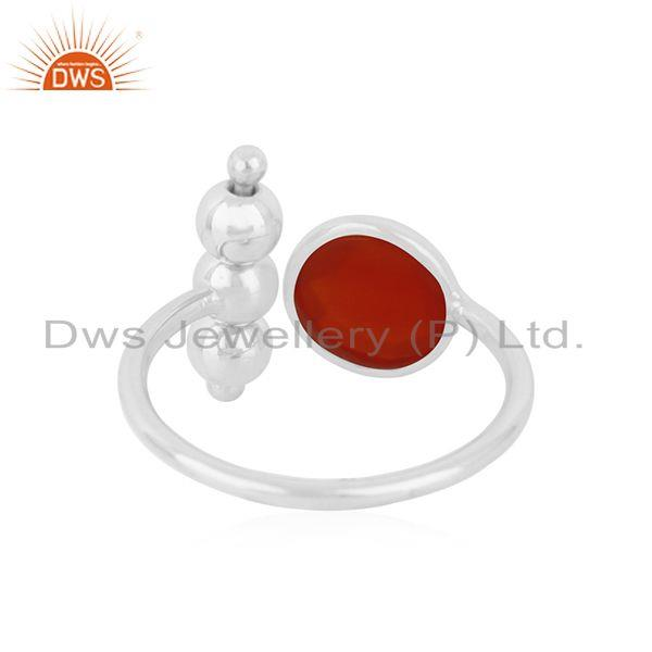 Suppliers 92.5 Sterling Fine Silver Red ONyx Gemstone Trendy Ring Manufacturer India