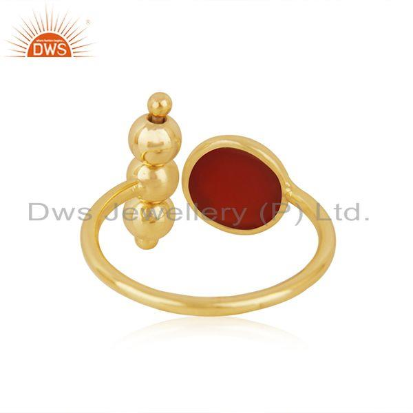 Suppliers Red Onyx Gemstone 925 Silver Gold Plated Promise Ring Manufacturer INdia