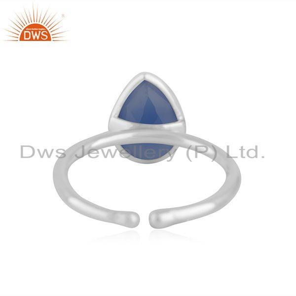Suppliers Handmade Fine Sterling 925 Silver BLue Chalcedony Gemstone Ring Wholesale