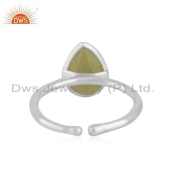 Suppliers Prehnite Chalcedony Gemstone Fine Sterling Silver Ring Manufacturer in Jaipur