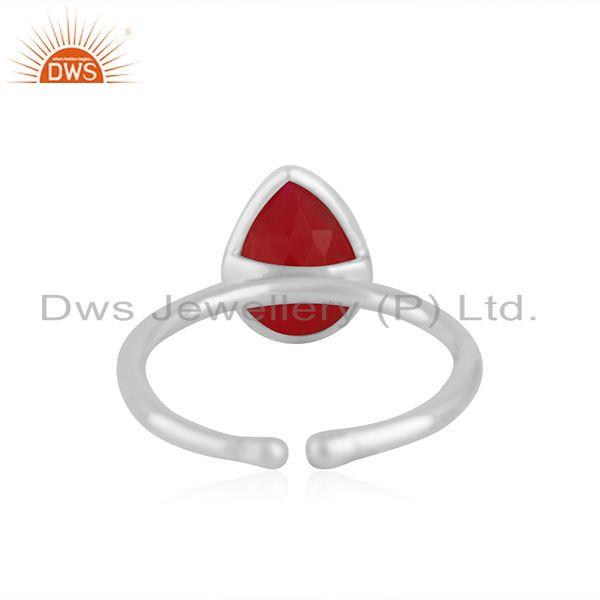 Suppliers Pink Chalcedony Gemstone Fine Sterling Silver Ring Manufacturer India