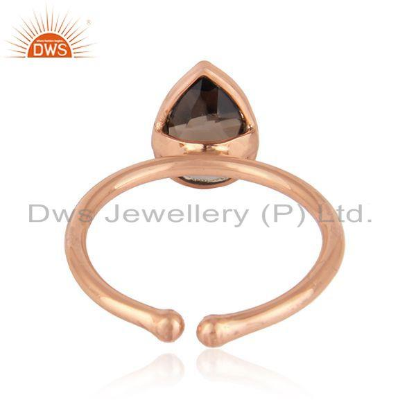 Suppliers Natural Smoky Quartz Gemstone Rose Gold Plated Silver Ring Jewelry