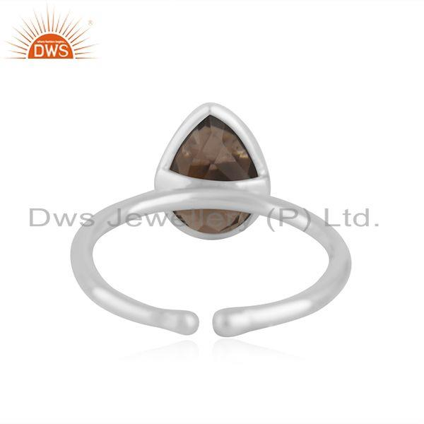 Suppliers Smoky Quartz Fine Sterling Silver Handmade Customized Ring Manufacturer in India