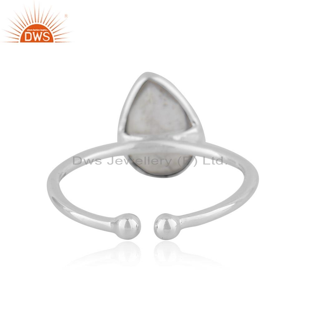 Suppliers Howlite Gemstone 925 Silver Silver Adjustable Ring Jewelry Supplier