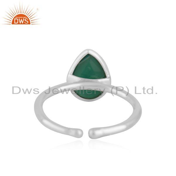 Suppliers Green Onyx Gemstone Handmade Fine Stering Silver Ring Manufacturer india