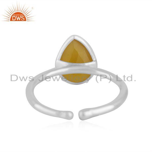 Suppliers Yellow Chalcedony Gemstone Fine Sterling Silver Ring Manufacturer Jaipur