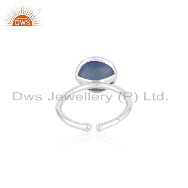 Suppliers Blue Chalcedony Gemstone 925 Fine Silver Ring Manufacturer in Jaipur