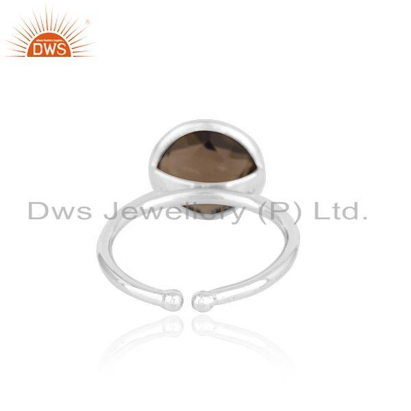 Suppliers 92.5 Sterling Silver Smoky Quartz Gemstone Simple Ring Wholesale Supplier