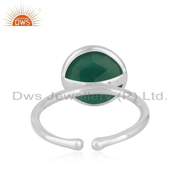Suppliers Green Onyx Gemstone Handmade Fine Sterling Silver Ring Wholesaler India
