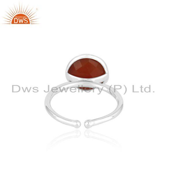 Suppliers Red Onyx Gemstone 925 Sterling Fine Silver Simple Design Ring manufacturer INdia