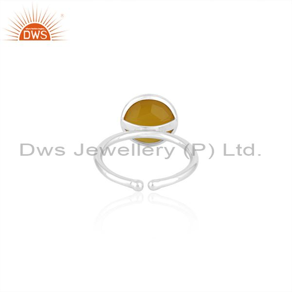Suppliers Yellow Chalcedony Gemstone 925 Fine Silver Simple Design Ring Manufacturer