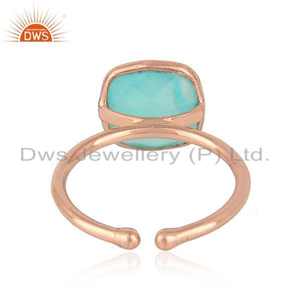 Suppliers Designer Rose Gold Plated Silver Aqua Chalcedony Gemstone Rings