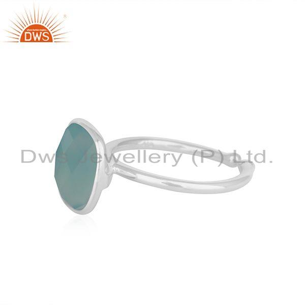 Suppliers Aqua Chalcedony Gemstone Fine Sterling Silver Ring Manufacturer