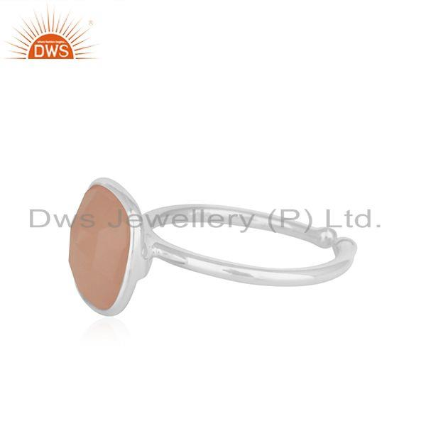 Suppliers Handmade 925 Sterling Fine Silver Rose Chalcedony Gemstone Ring Wholesale