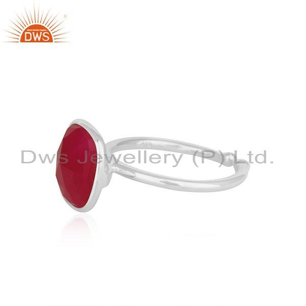 Suppliers Bezel Set Pink Chalcedony Gemstone 925 Fine Silver Ring Manufacturer India