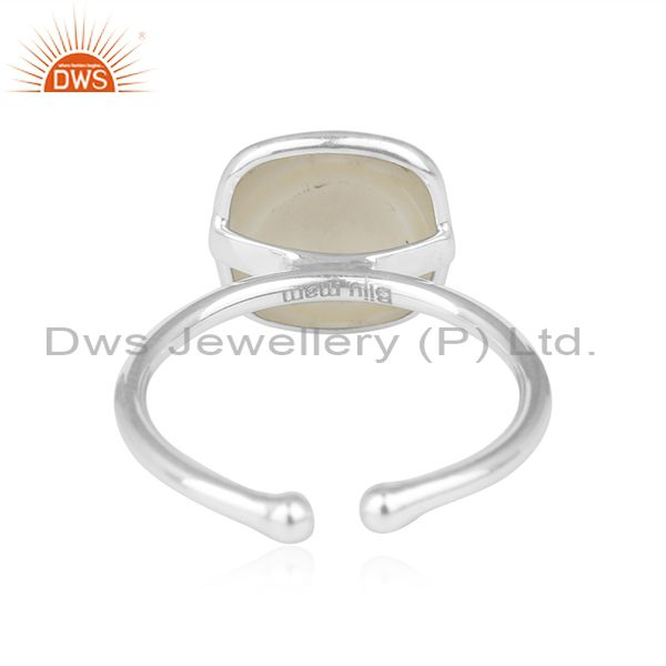 Manufacturer of Natural Pearl Gemstone Handmade Sterling Fine Silver Designer Ring in India