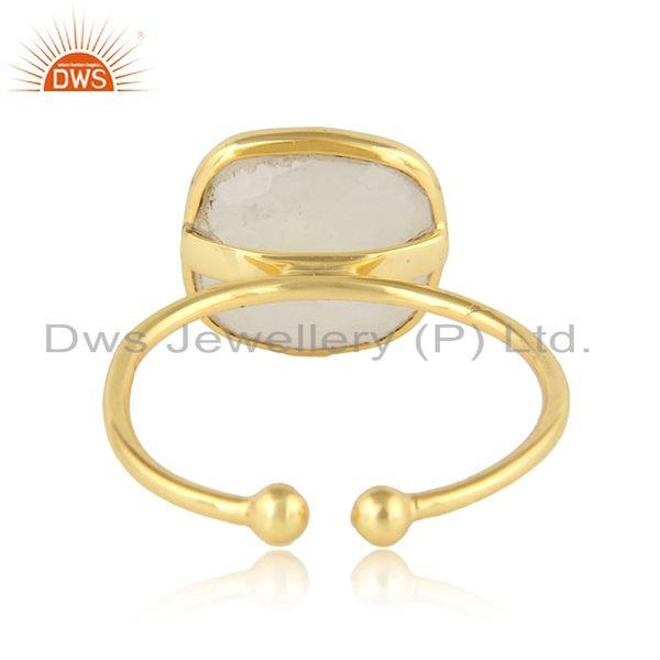 Designer of Cushion design gold plated 925 silver rainbow moonstone rings