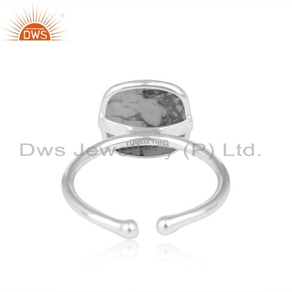 Suppliers Howlite Gemstone Sterling Silver Adjustable Ring Jewelry Supplier