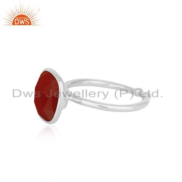 Suppliers Red Onyx Gemstone Simple Design Fine Sterling Silver Ring Jewelry Supplier