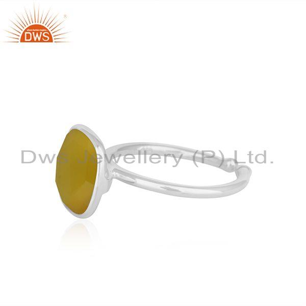 Suppliers Yellow Chalcedony Simple Design 925 Fine Silver Unisex Ring Manufacturer Jaipur