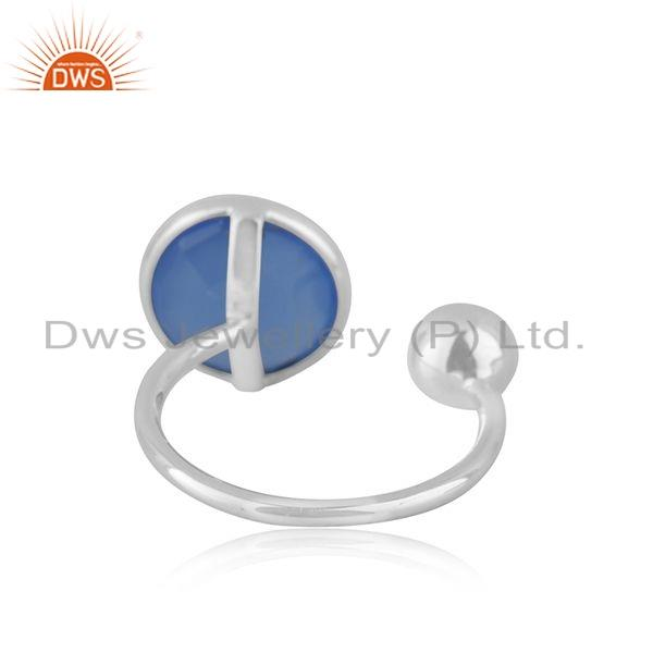 Suppliers Sterling Fine Silver Blue Chalcedony Gemstone Designer Rings Jewelry