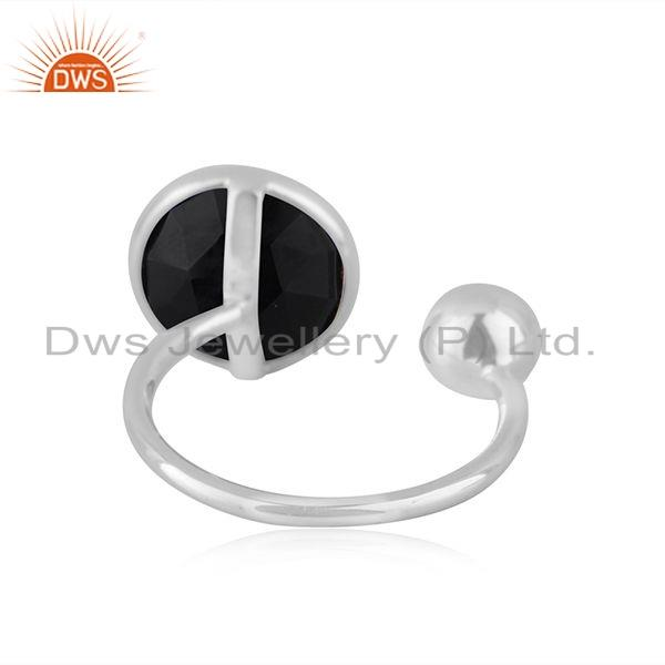 Suppliers Natural Black Onyx Gemstone Designer 925 Silver Ring Jewelry Supplier