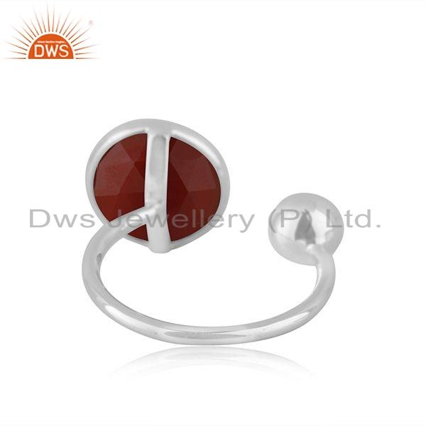 Suppliers Red Onyx Gemstone Womens 925 Silver Designer Ring Manufacture