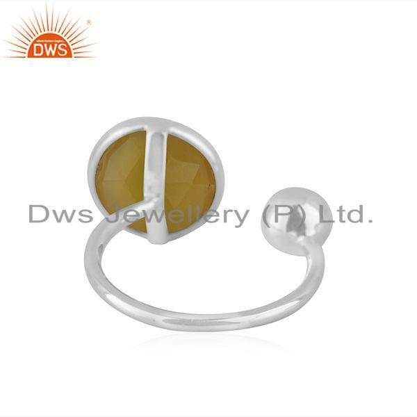 Suppliers Yellow Chalcedony Gemstone Wholesale Sterling Silver Ring For Womens