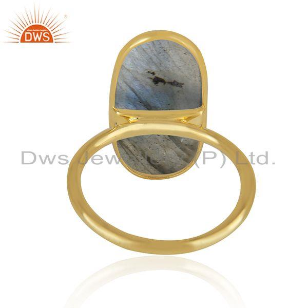 Wholesale Natural Labradorite Gemstone Gold Plated 925 Sterling Silver Ring in Jaipur