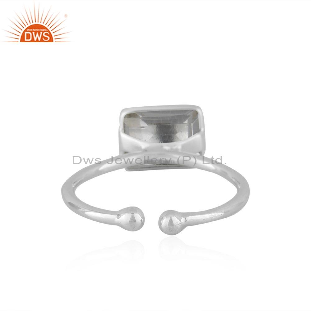 Suppliers Natural Crystal Quartz Gemstone Designer Sterling Silver Ring Jewelry