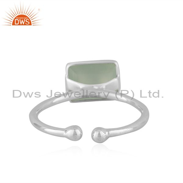 Suppliers New Sterling Fine Silver Prehnite Chalcedony Gemstone Ring Jewelry