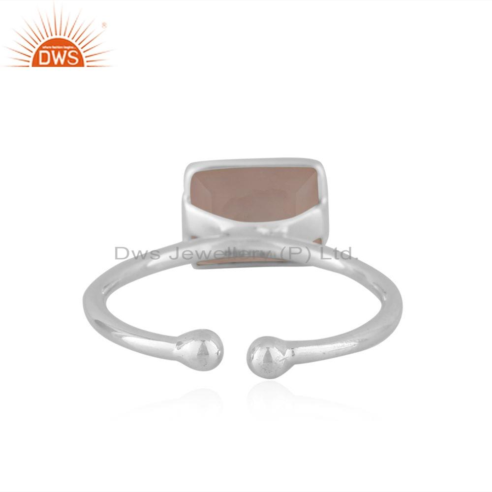 Suppliers 92.5 Sterling Silver Rose Chalcedony Gemstone Designer Rings Jewelry