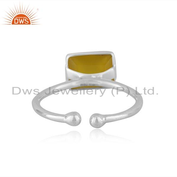 Suppliers Natural Yellow Chalcedony Gemstone 92.5 Sterling Silver Ring Jewelry